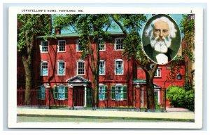 Postcard Longfellow's Home, Portland ME Maine G33