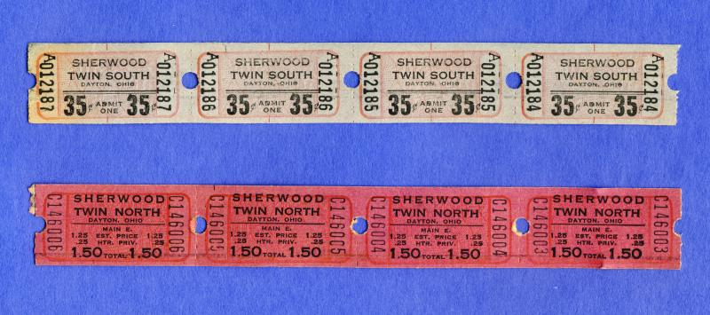8 Sherwood Twin Drive-In Movie Theatre Tickets, Dayton, Ohio/OH, 1960's?