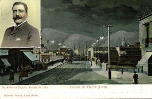 peru, LIMA, Puente de Piedra, Mayor Dr. Federico Elguera Alcalde de Lima (1901)