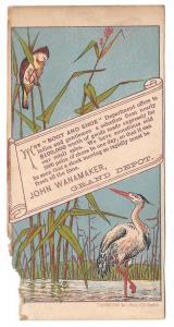 Victorian Trade Card John Wanamaker Shoes Boots Philadelphia