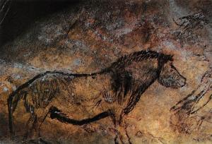 France Grotte de Niaux Epoque Magdalenienne Peinture Cheval du Salon Noir