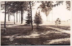 Wisconsin Shawano Shawano Lake Hotel Court 1944 Real Photo