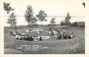 RPPC MILFORD, IN Indiana  OLDER GIRLS COUNCIL CIRCLE, CAMP MACK  c1940s Postcard