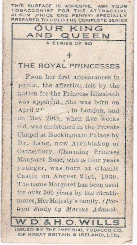 Cigarette Card Wills Our King and Queen No 4 The Royal Princesses
