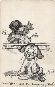 F93/ Hand-Made Postcard 1912 Cleveland Ohio Sketch Sad Dog Child 8