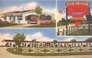 A74/ Walton Kentucky Ky Postcard Linen 3View Pon-De-Lon Motel Court