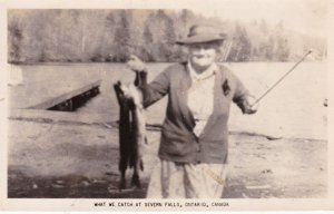 RP: SEVERN FALLS , Ontario , Canada , 30-40s Fisher Woman w/ Catch