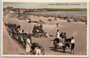 Weymouth, Dorset England UK Postcard Donkey Stand & Beach Bathing Scene c1910s