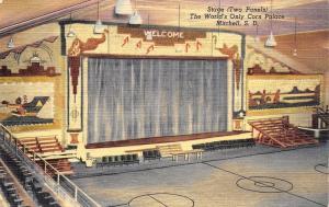 Mitchell South Dakota~Corn Palace~Stage and Basketball Court~1949 Postcard
