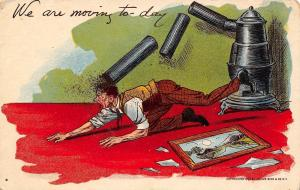 Comic Pun~We Are Moving Today~Pot Bellied Stove Pipes Fall on Man~Broken Picture