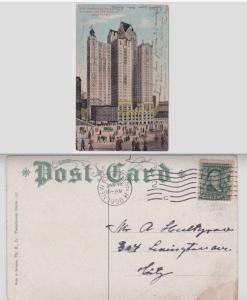 NYC Investing Building Broadway Cortland St 1908 Postcard Station H A01