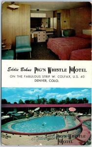 Denver, Colorado Postcard PIG 'N WHISTLE MOTEL Room Interior & Pool View 1962