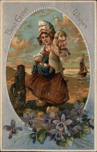 PFB EASTER Little Dutch Girl w Lamb EMBOSSED c1910 Postcard
