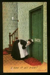 Bamforth Used - Chambermaid Listening At Hotel Room Door - Some Wear