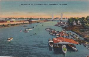 Boats, Bridge, View On The Sacramento River, SACRAMENTO, California, 1930-194...