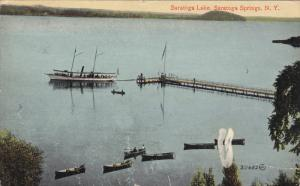 SARATOGA SPRINGS, New York, 1900-19101's; Saratoga Lake, Row Boats, Pier