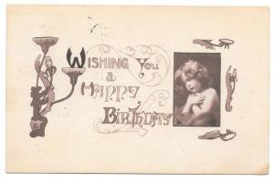 Happy Birthday Art Nouveau Vntg 1911 Majestic Publ Postcard