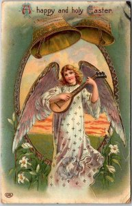 Vintage 1915 Embossed Postcard Angel Girl Playing Lute A Happy and Holy Easter