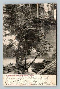 Escanaba River Scene MI-Michigan, Victorian Gentleman, Vintage c1905 Postcard