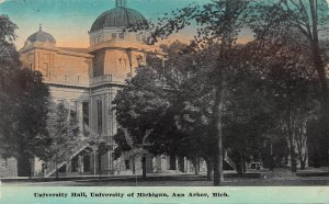 University Hall, University of Michigan, Ann Arbor, MI., early postcard, used