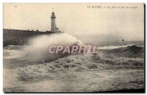 Old Postcard Le Havre La Jetee A Day Of Storm Lighthouse