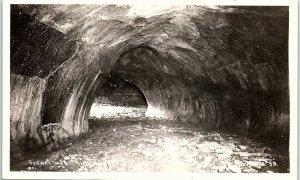 RPPC CA Subway Cave Of Hat Creek Lava Tube Old Station Real Photo Postcard BC