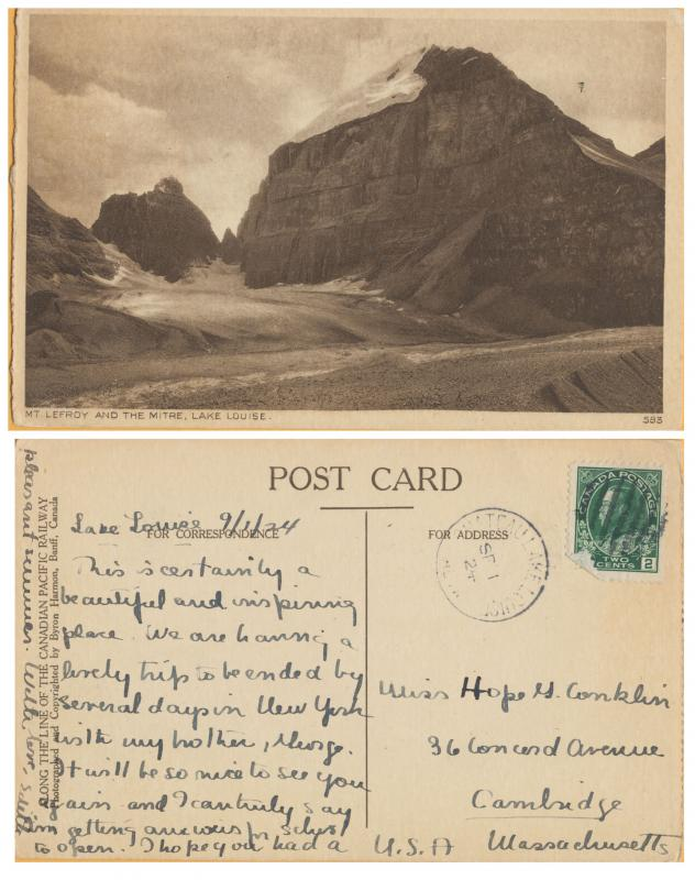 Mt. Leefroy and the Mitre, Lake Louise, Canadian Pacific ROW - 1924