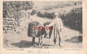 1923 IRELAND Carrying Turf barefoot boy and donkey