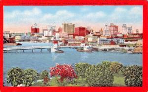 TAMPA FLORIDA~TAMPA SKYLINE FROM MUNICIPAL HOSPITAL ON DAVIS ISLAND POSTCARD