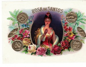HI1052 RARE LITHO CIGARBOX LABEL ROSA DE SANTOS SMOKING WOMAN , GOLD EMBOSSED