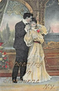 SPOONING IN SHERBURNE NEW YORK~1910S ROMANCE POSTCARD