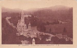 France Lourdes La Basilique vue du Chateau-Fort