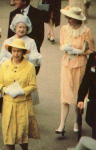 Princes Diana Horse Races At Ascot Queen Mother Royal Postcard