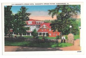 VA Harrisonburg Massanetta Springs Hotel Station Postcard