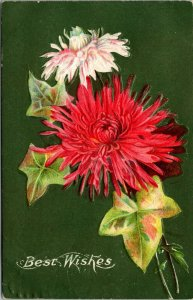 BEST WISHES - FLOWERS - RED WHITE GREEN LEAVES - EMBOSSED - VINTAGE - POSTCARD