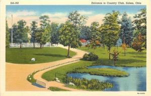 Salem Ohio~Winding Road Country Club Entrance~Pond~Fences~1939
