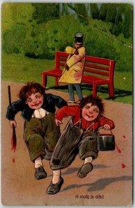 Vintage 1910 PFB Embossed Postcard A Study in Oils! Boys Paint Halloween Prank
