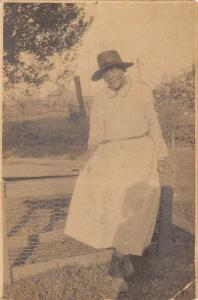 Black Americana~Fannie Coleman Robt?~At Home on Farm~Lady on Fence~c1915 RPPC