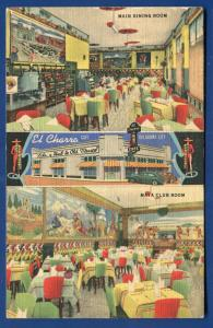 EL Charro Cafe on 10th & Dewey Oklahoma City ok linen postcard