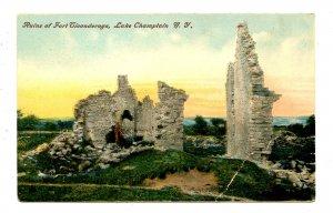 NY - Lake Champlain. Fort Ticonderoga Ruins   (crease)