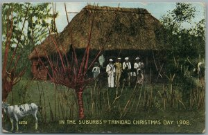 1908 CHRISTMAS DAY SUBURBS OF TRINIDAD ANTIQUE POSTCARD