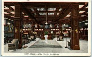 Fresno, California Postcard Lobby, SEQUOIA HOTEL w/ 1925 CA Cancel