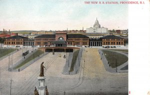 New Railroad Station, Providence, Rhode Island, Early Postcard, Unused