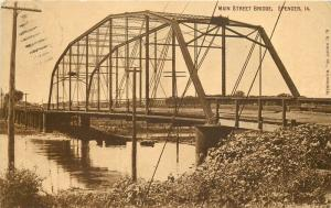 C-1910 Spencer Iowa Main Street Bridge Kropp postcard 12551