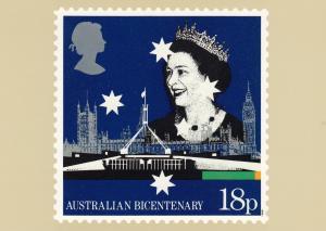 Australian Bicentenary Stamp postcard 18p