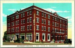 Swainsboro, Georgia Postcard JOHN C. COLEMAN HOTEL Street View Curteich Linen