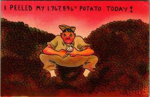Military Comic Peeled My 1,767,896 Potato Today WWII Linen Postcard