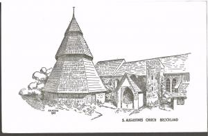 Postcard Art Sketch Drawing by A W Hodge 1947 St Augustine Church BROOKLAND Kent