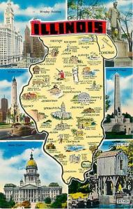 Illinois Map & Scene Card IL