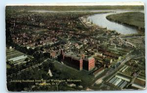Aerial View Washington DC from Top of Washington Monument Vintage Postcard C17